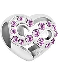 Uniqueen Armbandanhänger in Herzform mit Unendlichkeitszeichen, mit Kristallsteinen, passend für Pandora-Armbänder