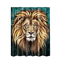 Magideal Shower Curtain Sheer Waterproof Panel Bathroom Decor w/ Hooks Lion Head