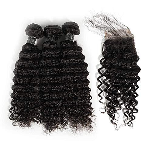Blisshair brasiliani veri capelli umani ricci di onde profonde bundles con chiusura per donna 100% unprocessed vergine human hair 3 bundles with lace front closure 3 parte colore naturale (101214 + 8)