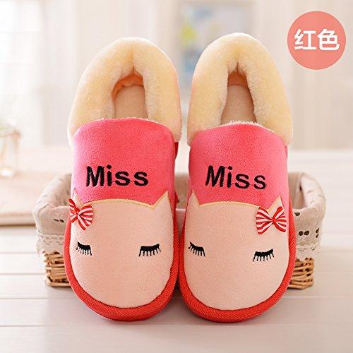 DogHaccd pantofole,Gli uomini e le donne inverno paio di pantofole di cotone confezione con piscina coperta anti-slittamento torna spessa home soggiorno caldo inverno scarpe eleganti. Il rosso2