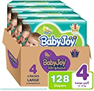 Babyjoy Compressed Diamond pad Diaper, Value Pack Large Size 4, Count 128, 10 - 18 KG