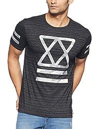 Flying Machine Men's Geometric Print Slim Fit T-Shirt (F2TS0096_Jet Black_L)