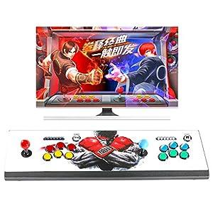 Hikig 2 Jugadores Gabinete de la Arcada Kit de Bricolaje, 2X Codificador USB + 2X Joystick + 16x Botones LED Plateados Cromo con Coin y Jugador Botones para PC MAME y Raspberry Pi