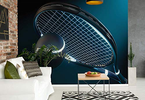 Wallsticker Warehouse Tennis Tennisschläger Ball Neon Fototapete - Tapete - Fotomural - Mural Wandbild - (1617WM) - XL - 208cm x 146cm - VLIES (EasyInstall) - 2 Pieces
