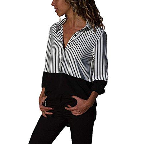 Tops Damen Oberteile Block Streifen Taste Bluse T-Shirt Langeshirt ()