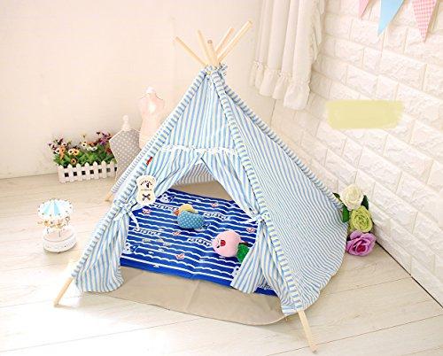 Pericross® Haustier Spielzelt Tipi Zelt Hütten Indianertipi für Katzen Hunde (Blau)