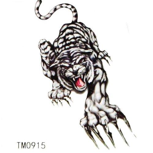 Étanche à l'eau coloré faux tatouages tigre animaux
