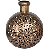 Shresth Lifestyles Brass Jali Kuriya Candle Holder - Big (30.48 Cm X 23 Cm X 38.1 Cm, Metallic)