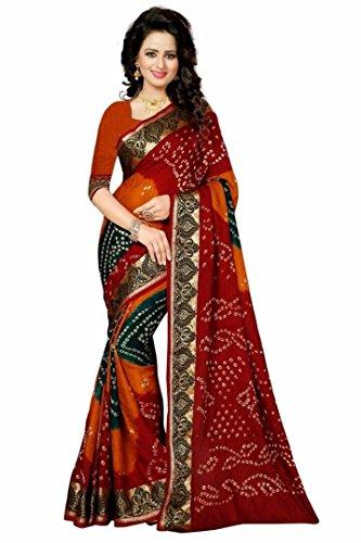 Kiranz Web Store Women's BhagalPuri cotton Silk Saree With Blouse Piece (KWS_138_Bandhani_...
