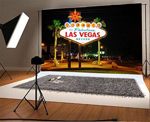 YongFoto 3x2m Vinyl Foto Hintergrund Willkommen in Las Vegas Stadtnacht Aussicht Fotografie Hintergrund für Fotoshooting Portraitfotos Party Kinder Hochzeit Fotostudio Requisiten