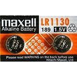 Maxell Lot de 2 G10A KA54 LR54 LR1130 L1131 189–1 189 V10GA RW89 D189 GP89A 390A AG10 389A alcalines 1,5 V pour appareils photo/jouets/calculatrices/lampes Torches/montres/pointeurs Laser/autres.