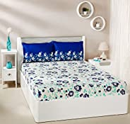 Amazon Brand - Solimo Jasmine Zest 144 TC 100% Cotton Double Bedsheet with 2 Pillow Covers, Blue, Floral