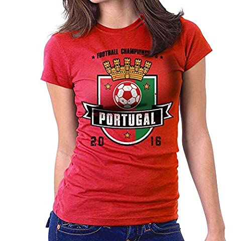 Euro 2016 Football Portugal Shield Red Women's T-Shirt
