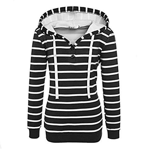 Tonsee Womens Striped lâche Casual manches longues sweat à capuche Pull Pull Tops (M, Noir)
