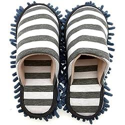 Selric® Raya Zapatillas Mopa Gris, Zapatos Desmontables y Lavables Para Mujer , Pantuflas de fibra para limpieza de polvo,ultra ligero zapatos de interior 25cm [tamaño EU:36-39]
