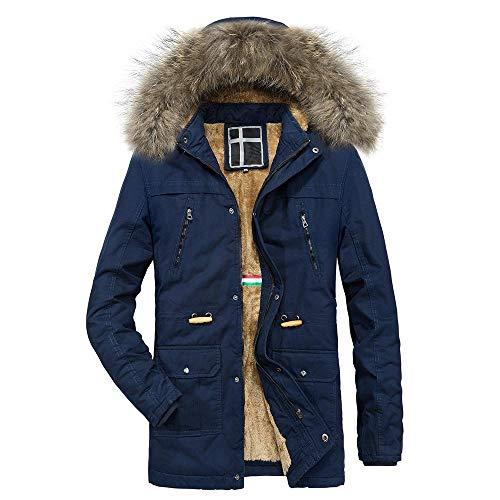 KPPONG Herrenjacke Zipper Coat Winter Warm Mit Kapuze Reißverschluss Dicker Baumwolle-gepolsterter einfarbiger Fleece-Innenseite Braun Medium