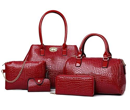 X&L Damen Mode Taschen PCs schräge Krokodil Schulter Handtasche multicolor wine red
