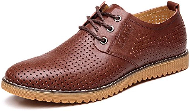 LEDLFIE Herren Echtes Leder Schuhe Ausschnitte Leder Schuhe Wild Lace up Schuhe