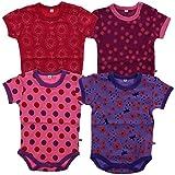 Pippi 4er Pack Kinder Mädchen Body mit Aufdruck, Kurzarm, Alter 2-3 Jahre, Größe: 98, Farbe: Pink, 3820