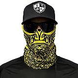 A.S.98 SA Fishing Company Face Shield Sturmhaube Bandana Gesichtsmaske Halstuch Ski Motorrad Paintball Halloween Maske (Polynesian Tribal Gelb)