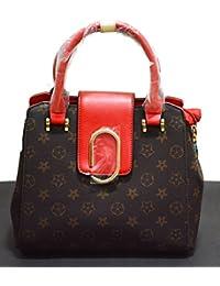 Devwebzone Women's/Ladies Printed Casual Handbag/Shoulder Bag (MAGNOLIA) - Brown/Red