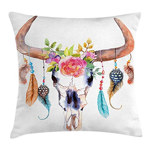 Kotdeqay Feather Throw Pillow Cushion Cover, Native American Symbol in Watercolor Style Bull Skull with Ornaments Vibrant Image