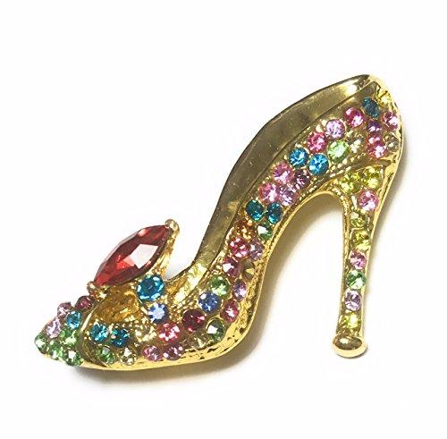 FizzyButton Gifts Mehrfarbige hochhackige Damenschuh Strassbrosche Stiletto, Abzeichen Schal pin Jeweled Stiletto