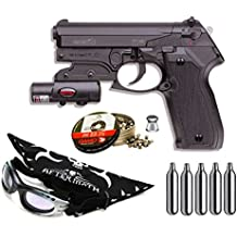 Pack pistola Perdigón Gamo PT-80 Laser 4,5mm. Potencia 3,4 Julios + gafas antivaho + pañuelo cabeza decorado, + balines + bombonas co2