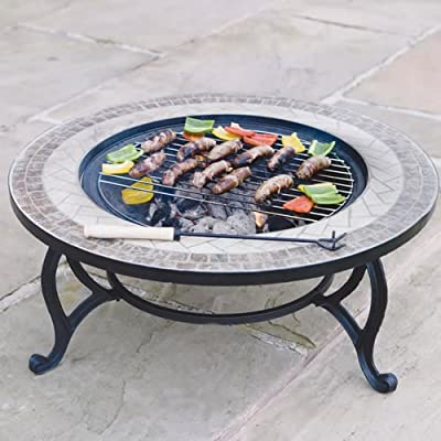 Trueshopping Beacon Star combined Fire Pit 76cm and Coffee Table includes Fire Bowl, BBQ Grid, Spark Guard, Poker and Weather Cover
