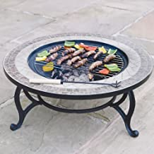 "Combined Fire Pit (76cm) and Coffee Table - ""Beacon Star"" BBQ Grid, Spark Guard, Poker, Weather Cover"