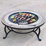 Trueshopping Beacon Star Fire Pit (76cm) and Coffee Table - Fire Bowl, BBQ Grid, Spark Guard, Poker, Weather Cover