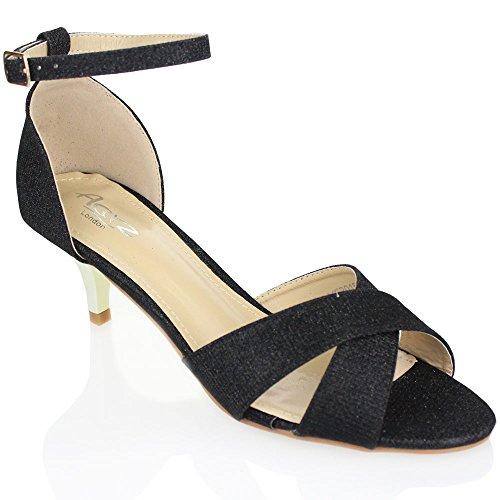 Aarz signore delle donne di sera del partito di promenade casuale tacco basso sandalo Dimensioni (oro, argento, champagne, nero) Nero