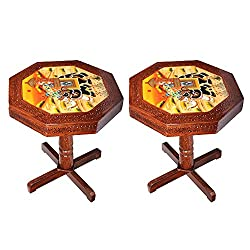 APKAMART Handcrafted Wooden Side Table cum Stool - 20 Inch - Set of 2 - Wooden Stool for Home Decor, Living Room Decor and Gifts