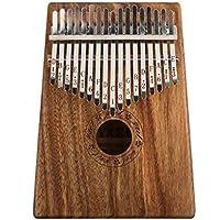 Elenxs 17 teclas de madera pulgar Piano Kalimba Mbira Sanza con bolsa de transporte de música pegatinas de sintonización martillo