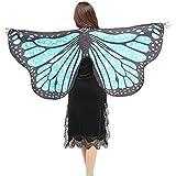 WOZOW Damen Schmetterling Flügel Kostüm Nymphe Pixie Umhang Faschingkostüme Schals Poncho Kostümzubehör Zubehör (Hellblaue Punkte)