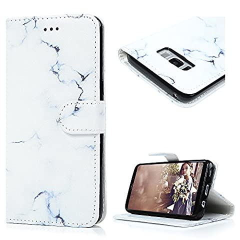 S8 Leather Case S8 Marble Case KASOS Premium PU Leather Cash&Card Slots Change Pouch TPU Inner Bumper Kicktand Cradle Front Closure Flip Wallet Purse Leather Cover Shell Marble Style Notebook Design Magnetic Lock Protective Skin for Samsung Galaxy S8 Innocent White