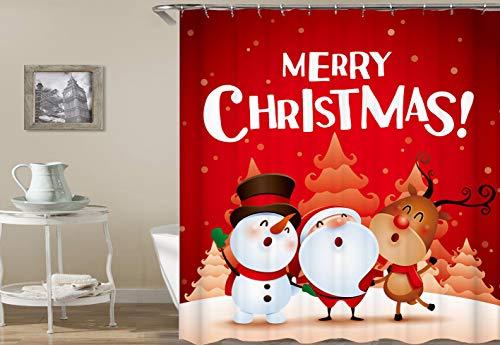 ajhgfjgdhkmdg Karikatur Santa Claus Snowman Deer Orange Christmas Tree auf dem roten Hintergrund HD einfach, Duschvorhang zu löschen -