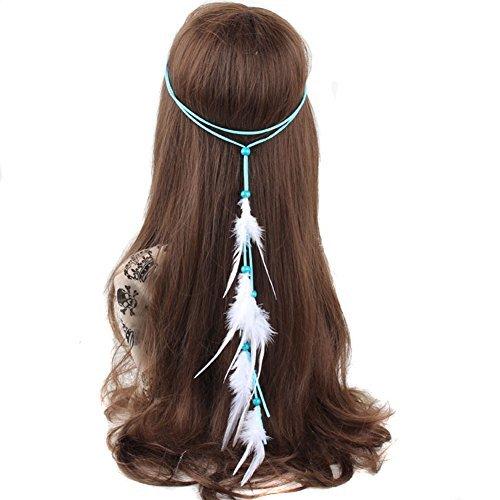 Bohemia Feder Haar Band–Indische Hippie Feder Weave Quasten Stirnband mit Kopfbedeckungen für maskenbälle Tribal Fancy Kleid (Lange Flapper Haar)