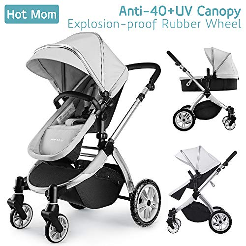 *Hot Mom Multi Kinderwagen Kombikinderwagen 2 in 1 mit Buggy 2018 neues Design, Babyschale separat erhältlich – Grey*