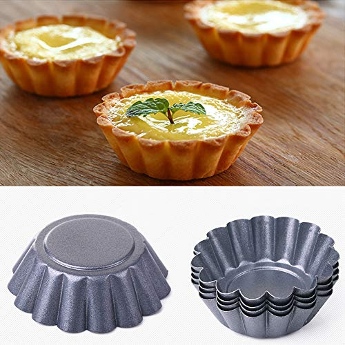 Bclaer72 Mini-Kuchenformen, gewellt, 6 Stück Eierform, 6,5 cm, gerillt, Mini-Form, Dessert, Karbonstahl, antihaftbeschichtet, für Cupcakes, Kekse, Zuhause, Küche