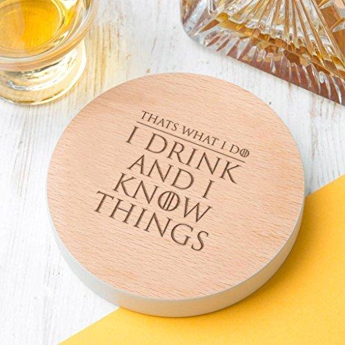 Valentinstag Geschenk für ihn - Untersetzer Game of Thrones Zitat - I drink and I know things - witzige Valentinstagsgeschenke - 8 Farben zur Auswahl