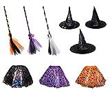 Diverse 3 TLG Hexenkostüm für Erwachsene Hut Rock Besen Hexe Karneval Fasching Zauberer Bunt