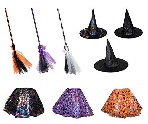 3 TLG Hexenkostüm für Kinder Hut Rock Besen Hexe Karneval Fasching Zauberer Bunt (Kinder Hexe Besen)
