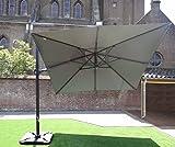 Ampelschirm Sonnenschirm | Grau | 300 x 300 cm | DOUBLE TILT | Viereckig / Quadratisch | SORARA | ROMA | Polyester 250 g/m² (UV 50+)| Kurbel & 360º Rotating Device | Incl. Schutzhülle & Kreuzfuß for Parasol