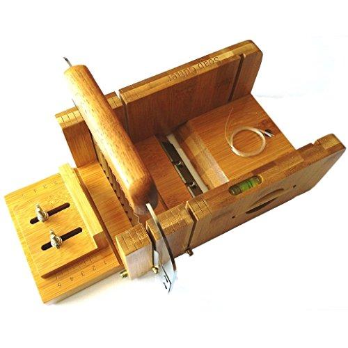 Vancgoods Outils de fabrication de savon en bambou réglables en bambou et en acier inoxydable coupeur de savon avec savon biseau planer set