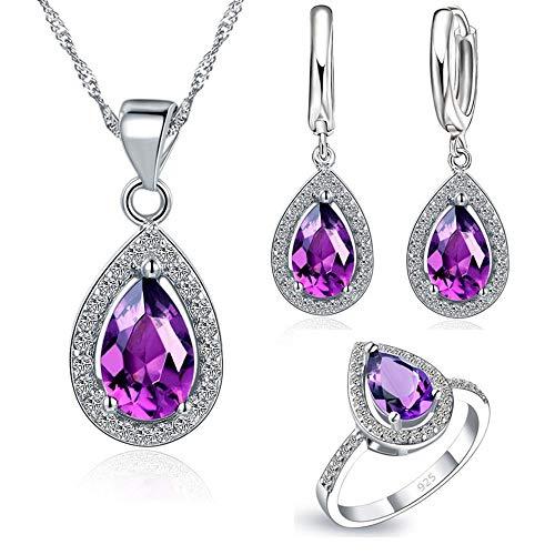 t Shiny Crystal Jewelry Set Drop Cube Zirkonia Cz Stein Sterling Silber Ohrringe Halskette Ring ()
