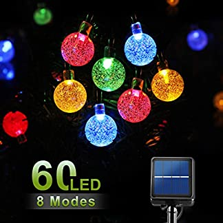 Guirnaldas Luces Exterior Solar,SEZAC【8M/60LED】 Cadena Solar de Luces IP65 a prueba de agua 8 modos de iluminación para jardín, terraza, boda, fiesta, patio, árbol de Navidad (Multicolor)