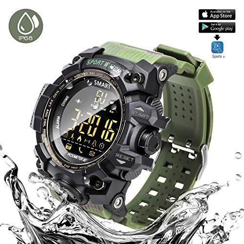 ANKKA Bluetooth Smart Sportuhr Camouflage Wasserdichte Upgrade IP68 Uhr Outdoor Digitaluhr mit APP Plattform, Kamera-Fernbedienung, Fitness Tracker,Schrittzähler,Call Message Reminder, Alarm,Kalender (Fitness-tracker Synchronisieren, Um Computer)