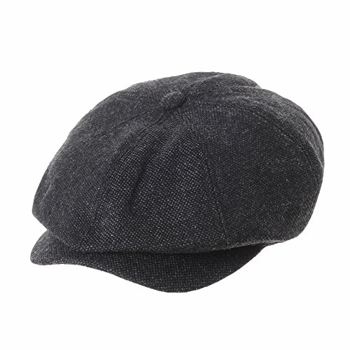 WITHMOONS Coppola Cappello Irish Gatsby Newsboy Hat Wool Felt Simple Gatsby  Ivy Cap SL3525 (Black 6ccfa545790f