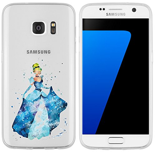Schuh Disney Cinderella (Samsung Galaxy S7 Hülle von licaso® für das Galaxy S7 aus TPU Silikon Prinzessin Aquarell Krone Prinz Comic Muster ultra-dünn schützt Dein Samsung Galaxy S7 & ist stylisch Schutzhülle Bumper)